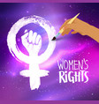 woman hand drawing feminism protest symbol vector image vector image