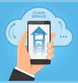 cloud computing concept hand holding smartphone vector image