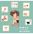 What women are thinking about vector image