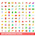 100 supermarket icons set cartoon style vector image vector image
