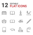 12 study icons vector image vector image