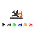 airplane landing crash icon vector image vector image