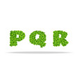 alfavit from the leaves of the clover letters pqr vector image vector image