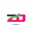 Alphabet Z and D letter logo vector image vector image