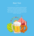 beer fest poster closeup fun and snack vector image vector image