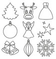 black and white line art xmas elements vector image