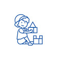 boy playing with toysbox of bricks line icon vector image vector image