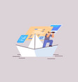businessman with binoculars floating on paper boat vector image