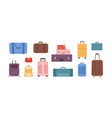 Cartoon colored baggage bag set isolated on white