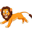 cartoon happy lion running vector image vector image