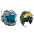 cartoon space astronaut and army soldier helmet vector image vector image