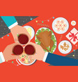 christmas dinner and eating delicious food on the vector image