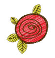color pencil drawing of button red rose with vector image vector image