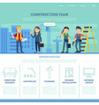 construction team web page template vector image vector image