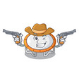 cowboy trampoline jumping shape cartoon realistic vector image