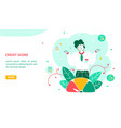 credit score landing page flat template vector image vector image