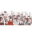 crowd happy people or music fans screaming vector image vector image