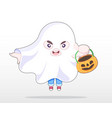 cute style boy dressing in ghost costume vector image