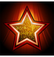 Disco star over glowing stripes vector image vector image