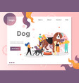 dog website landing page design template vector image vector image