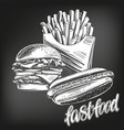 fastfood set french fries hot dog hamburger vector image