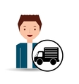 guy cartoon truck car icon vector image vector image