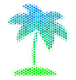 halftone blue-green island tropic palm icon vector image vector image