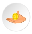 Hand and coin icon flat style vector image vector image