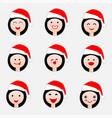happy woman face in hat santa claus vector image