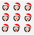 happy woman face in the hat of santa claus vector image