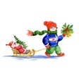Kid with santa toy and fir tree sliding on snow vector image
