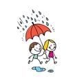 little boy and girl in the rain vector image vector image