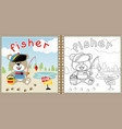 little fisher cartoon coloring page or book vector image vector image
