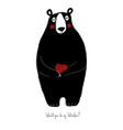 love card with cute bear vector image vector image