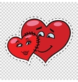 Love couple heart Valentine sewn to each other vector image vector image