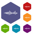 music sound waves icons set vector image vector image