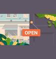 open advertising sign hanging on door store vector image vector image