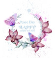 orchid flowers and butterflies watercolor card vector image