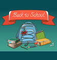 school stuff with red label bag pack books pen vector image vector image