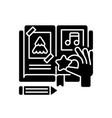 scrapbook black glyph icon vector image vector image