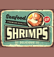 seafood restaurant menu sign design with delicious vector image vector image