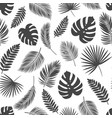 seamless pattern silhouettes tropical leaves vector image vector image