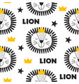 seamless pattern with king lion in scandinavian vector image vector image