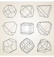 Set of geometric crystals Geometric shapes vector image vector image