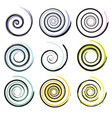 set spiral and swirl motion elements isolated vector image