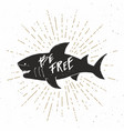 shark silhouette vintage label hand drawn sketch vector image vector image