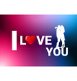 silhouette couple kissing over colorful valentine vector image vector image