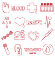 simple blood outline red icons set eps10 vector image vector image