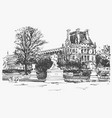 sketch drawing louvre famous place from vector image