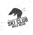 Ski club concept with bear vector image